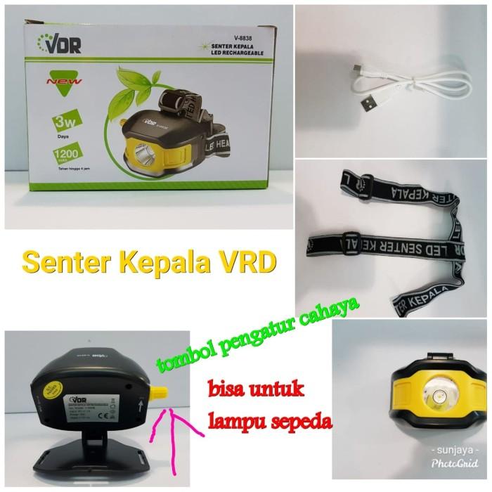 Foto Produk Senter Kepala Cas Rechargeable VDR Bisa Lampu Sepeda dari TriMedia Shop
