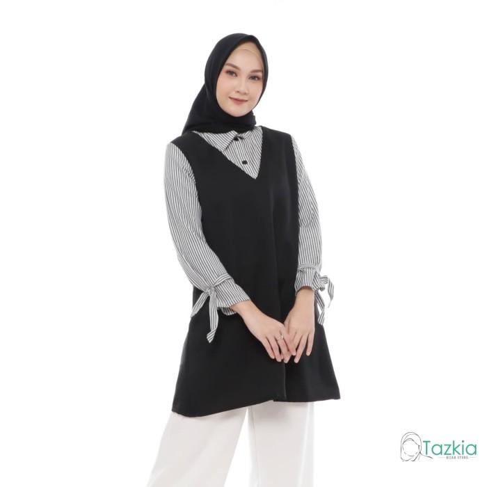 Foto Produk Atasan Muslim Wanita | Celina Blouse | S M L XL | Katun Salur - Size M dari Tazkia Hijab Store