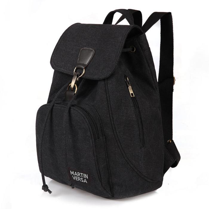 Foto Produk TR5 Tas Ransel Backpack Wanita Kanvas sekolah slingbag sling bag cewek - Black dari Martin Versa