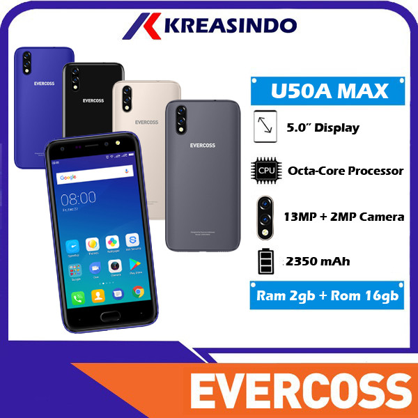 Foto Produk Evercoss U50A MAX 2/16 Ram 2gb Internal 16gb Fingerprint Resmi - Abu-abu dari Kreasindo Online