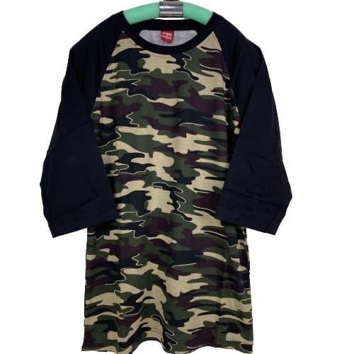 Foto Produk Kaos Pria/wanita Polos Reglan Army Hitam 3/4 /Atasan Dewasa M L XL XXL - M, ArmyHitam dari kaos reglan polos