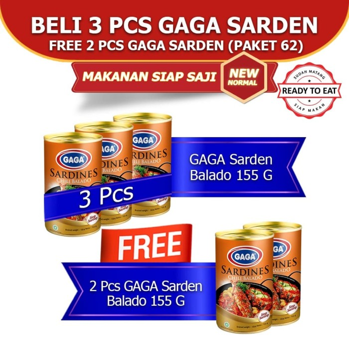 Foto Produk GAGA Sarden Balado 155g (GG62) dari Gaga Official Store