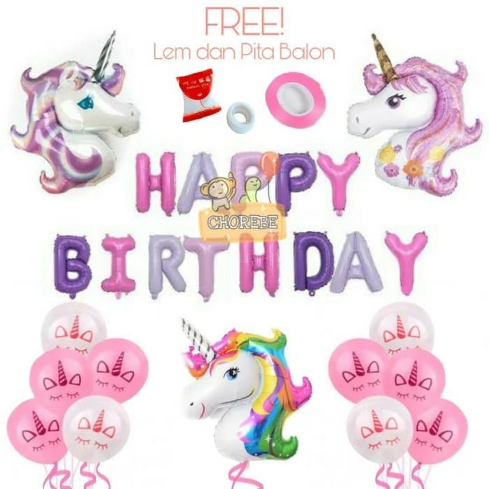 Foto Produk Paket Dekorasi Balon Ulang Tahun / Happy Birthday Pegasus / Unicorn 02 dari Chorebe
