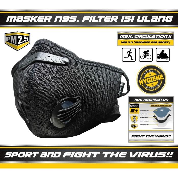 Foto Produk Masker Sport SHERLOCK Olahraga Sepeda Dual Valve Filter Carbon N95 dari SHERLOCK TOOLS