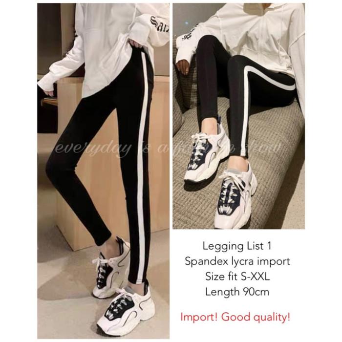 Jual Celana Legging List 1 2 3 Import Black Impor Hitam Garis Putih Lycra Kota Surabaya Mm Shope Tokopedia