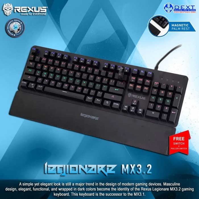 Foto Produk Rexus Legionare MX3.1 MX Blue Mechanical Gaming Keyboard dari DextMall