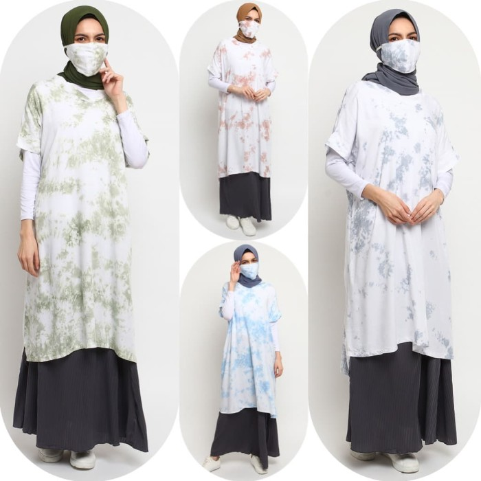Foto Produk Baju Atasan Muslim Wanita Le Najwa Lidya Blouse Tunik Tie Dye - Abu Biru dari Kamnco