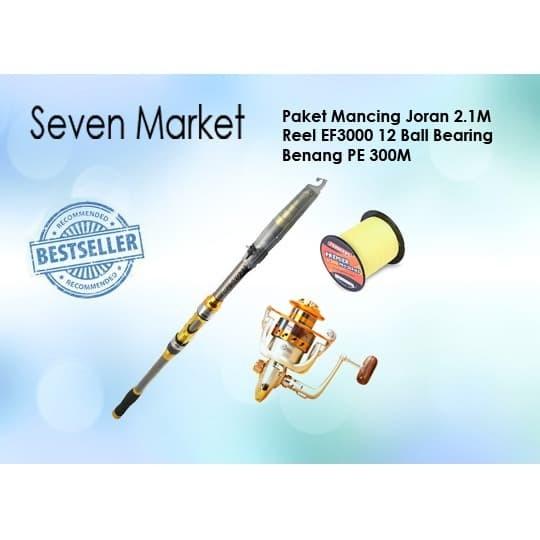 Foto Produk Paket Mancing Joran 2.1M, Reel EF3000 12 Ball Bearing, Benang PE 300M dari seven7 market