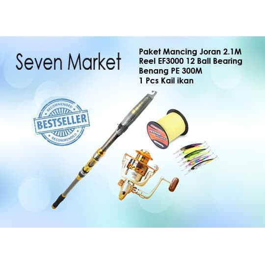 Foto Produk Paket Mancing Joran 2.1M, Reel EF3000 12 BB, Benang PE 300M, Kail ikan dari seven7 market
