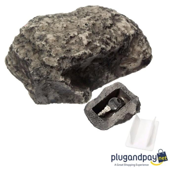 Foto Produk Kotak Penyimpanan Kunci Rahasia Bentuk Batu Hidden Key Box Stone dari plugandpay