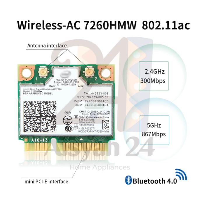 Foto Produk Wifi Card Intel Dual Band Wireless-AC 7260 for laptop, NUC & Mini PC - Card dari Toko Aisyah24