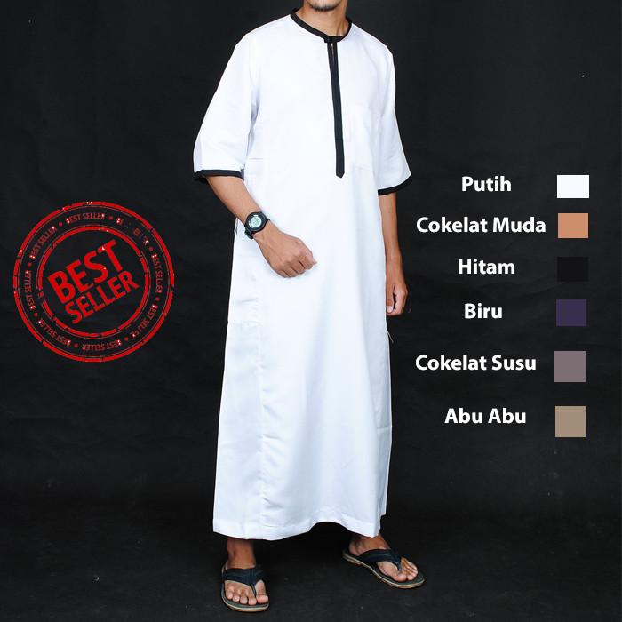 Foto Produk New Jubah Muslim Saudi Lengan Pendek - Gamis Pria - Baju Lebaran Cowok dari chrome store
