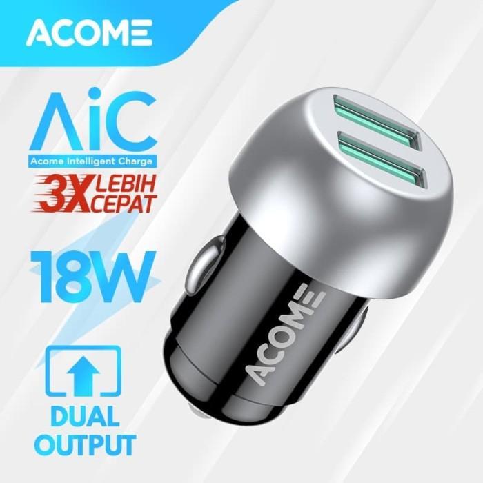 Foto Produk ACOME Car Charger QC3.0 2 Port USB Fast Charge Garansi 12 Bulan ACC01 dari Acome Indonesia
