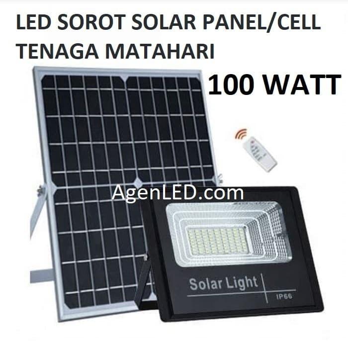Foto Produk LED SOROT 100W SOLAR CELL PANEL SURYA FLOODLIGHT Lampu tembak 100 watt dari AgenLED