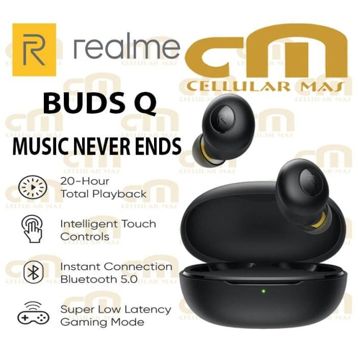 Foto Produk Realme Buds Q TWS ORIGINAL GARANSI RESMI REALME - Hitam dari Cellular Mas
