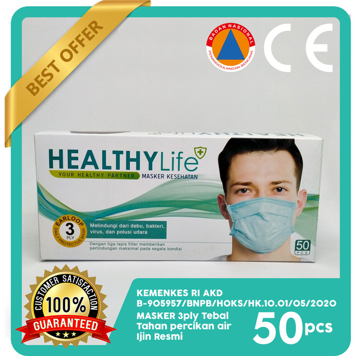 Foto Produk Masker 3ply Healthylife Mask 3ply 50's dari Healthylife Official