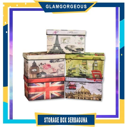 Foto Produk SB001 - BIG Storage box / Storage Stool / Tempat Mainan Ukuran 48 cm - London Phone dari GLAMGORGEOUS