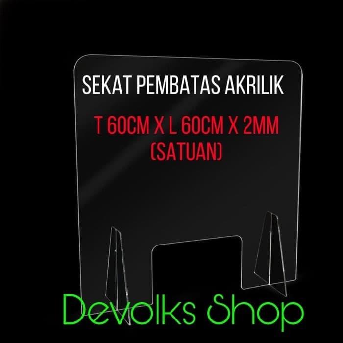 Foto Produk PARTISI / SEKAT / PEMBATAS MEJA AKRILIK TABLE DIVIDER KASIR UNIVERSAL dari Devolks Shop