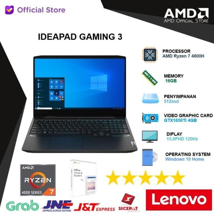 Promo Lenovo Ideapad Gaming 3 59id Ryzen 7 4800h 16gb 512ssd Gtx1650ti 4gb Jakarta Utara Amd Official Store Tokopedia