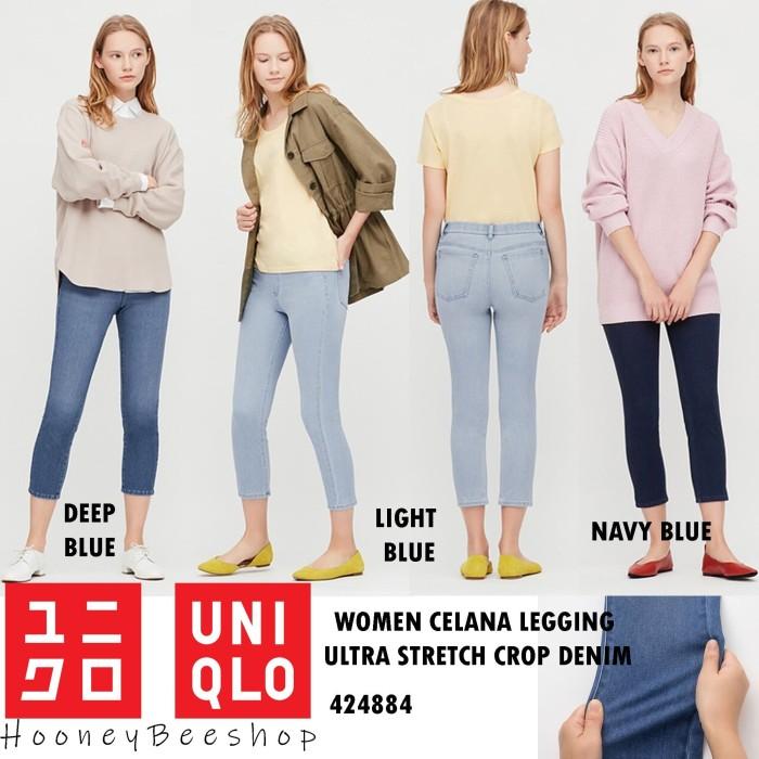 Jual Uniqlo Celana Legging Ultra Stretch Crop Denim Leging Wanita Jakarta Utara Hooneybee Shop Tokopedia