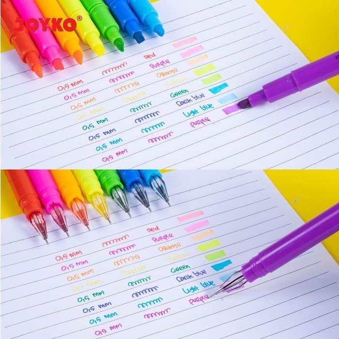 Foto Produk Color Gel Pen Pena Jel Highlighter Penanda Baris Joyko GPC-277 8 Warna dari Sentral Stationery