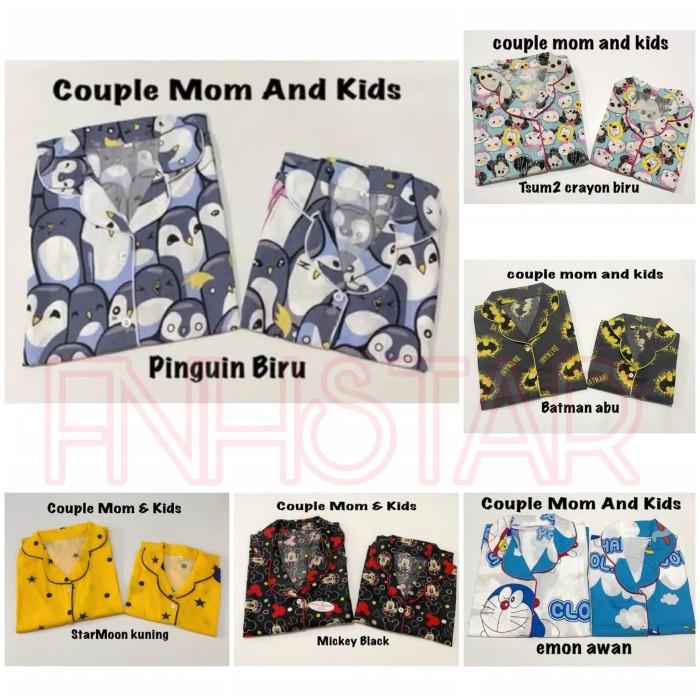 Foto Produk Piyama Couple 3pcs Mom and Kids 1-9th Free Celana Pendek Anak motif dari FNHstar