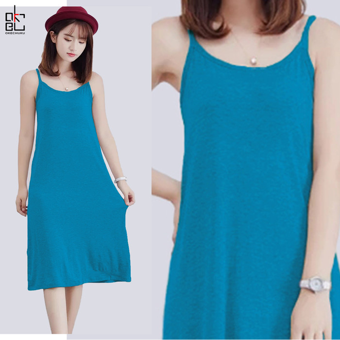 Foto Produk Okechuku ANGGUN Midi Dress Tanktop Mini Dress Camisoles Singlet Korean - Toska dari Okechuku