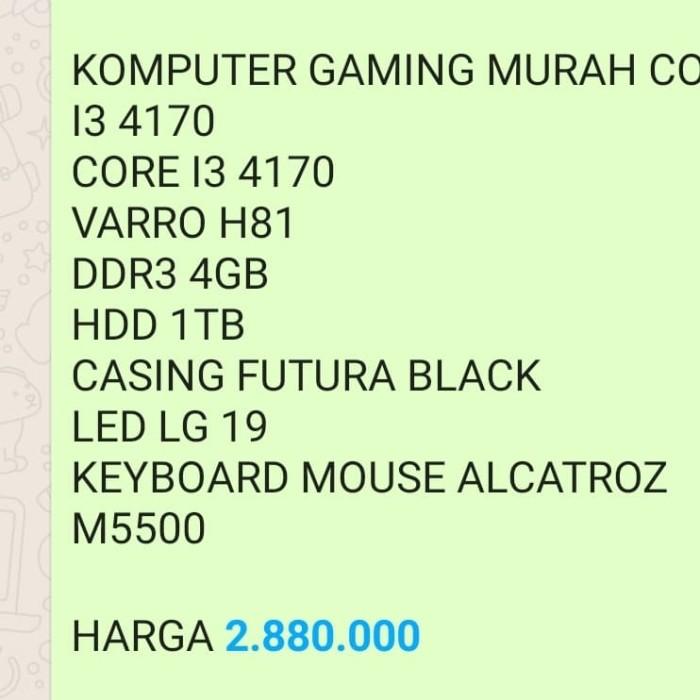 Foto Produk KOMPUTER GAMING MURAH CORE I3 4170 CORE I3 4170 VARRO H81 DDR3 4GB HDD dari Supernova Computer Ariet