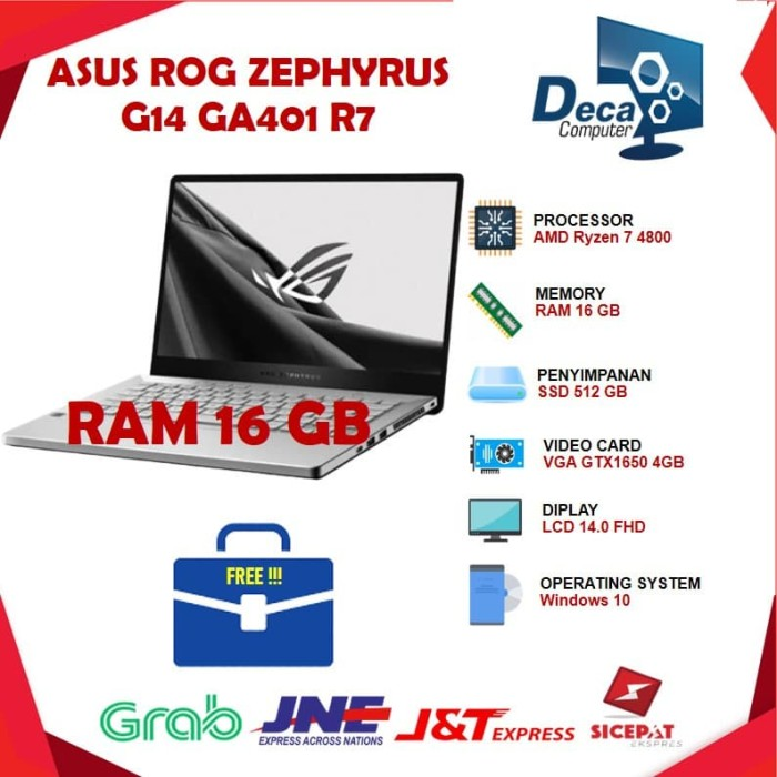 """Foto Produk Asus ROG Zephyrus G14 GA401iH Ryzen 7 4800 16GB 512ssd GTX1650 4GB 14"""" dari Deca Computer"""
