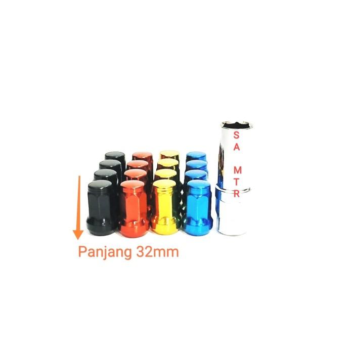 Foto Produk mur baut velg ban roda racing mobil lug nut fujita 12X1.25 Warna /pcs - Merah dari SA-MTR