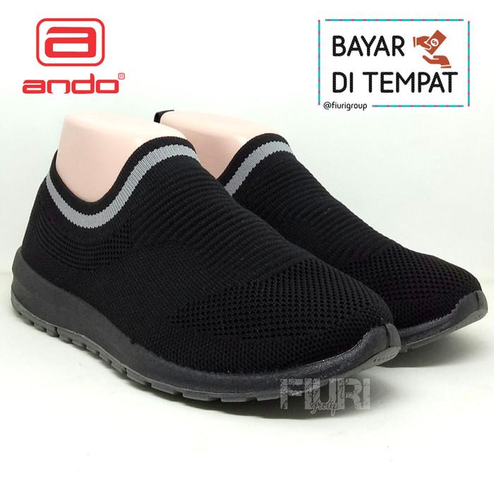 Foto Produk Ando Original - Siera Full Hitam - Sepatu Sneakers Rajut Knit Wanita - Full Hitam, 37 dari FIURI GROUP