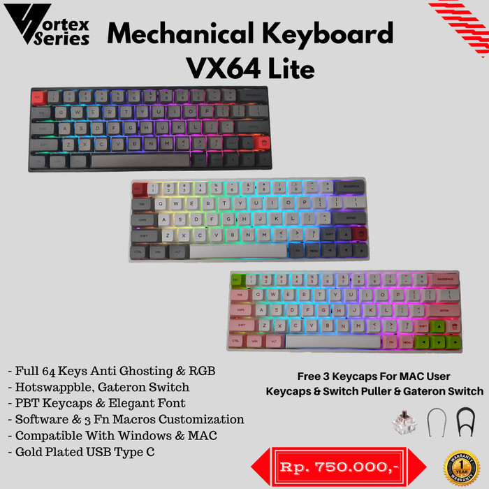 Foto Produk VortexSeries VX64 Lite Hotswappable Mechanical Keyboard - Gray Black dari VortexSeries
