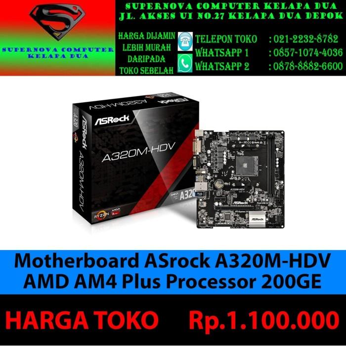 Foto Produk Motherboard ASrock A320M-HDV AMD AM4 PLUS PROSESOR 200GE dari Supernova Computer Ariet