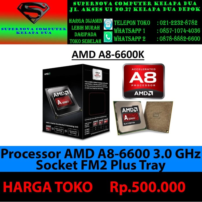 Foto Produk Processor AMD A8-6600 3.0 GHz Socket FM2 Plus TRAY dari Supernova Computer Ariet