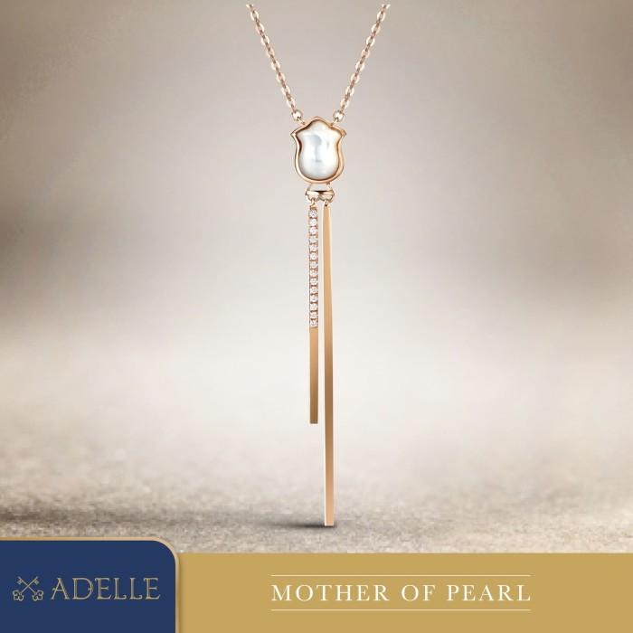 Foto Produk Diamond Pendant - Liontin Berlian Adelle Jewellery - Mother of Pearl - Rose Gold dari Adelle Jewellery