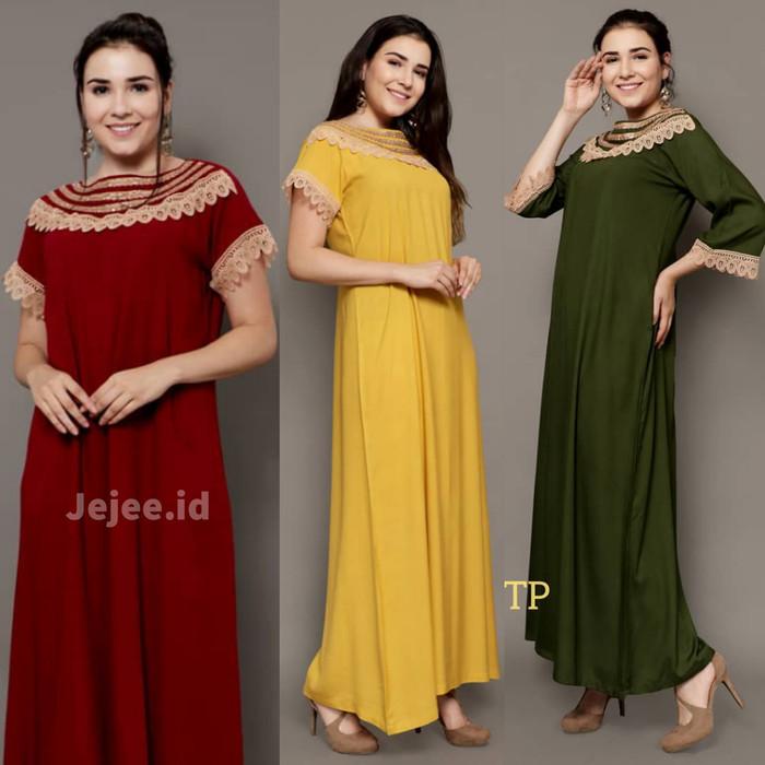Foto Produk Daster Arab Andalusia Cassandra Renda Kain Rayon All size - Merah dari Jejee ID