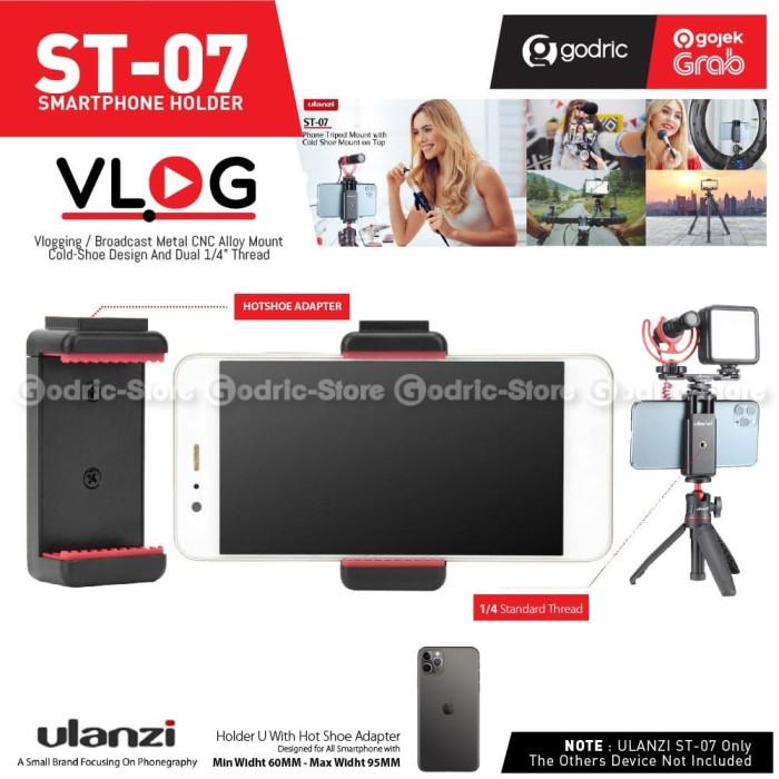 Foto Produk ULANZI ST-07 Holder U Smartphone Phone Clip Cold Hot Shoe LED Mic HP dari Godric Store