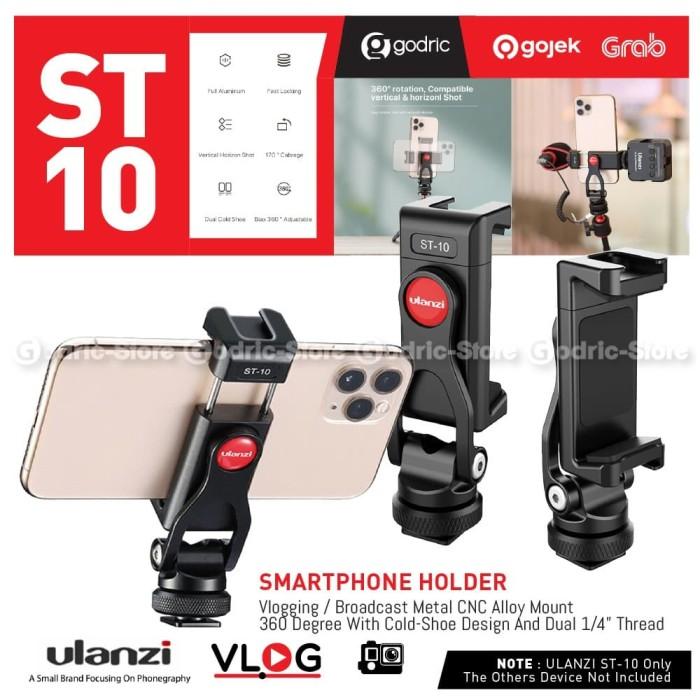 Foto Produk ULANZI ST-10 FULL METAL CLIP Holder 360 Smartphone Dual Hot Cold Shoe dari Godric Store