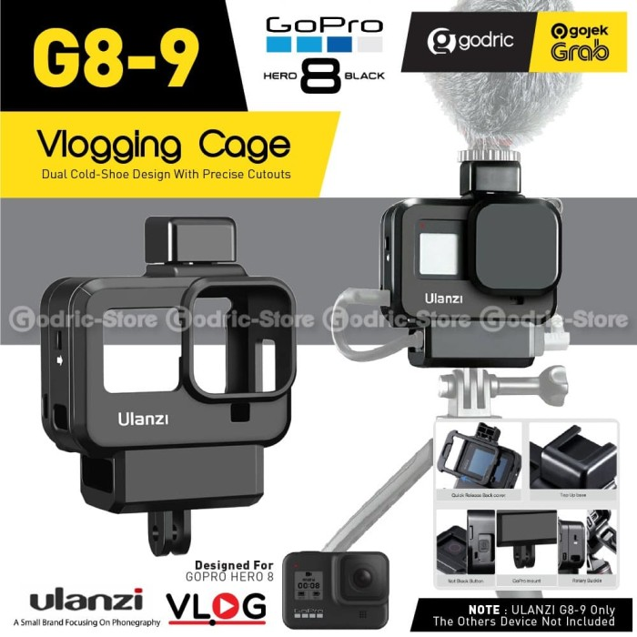 Foto Produk ULANZI G8-9 Vlog Case GoPro Hero 8 Vlogging Casing Frame with Hot Shoe dari Godric Store
