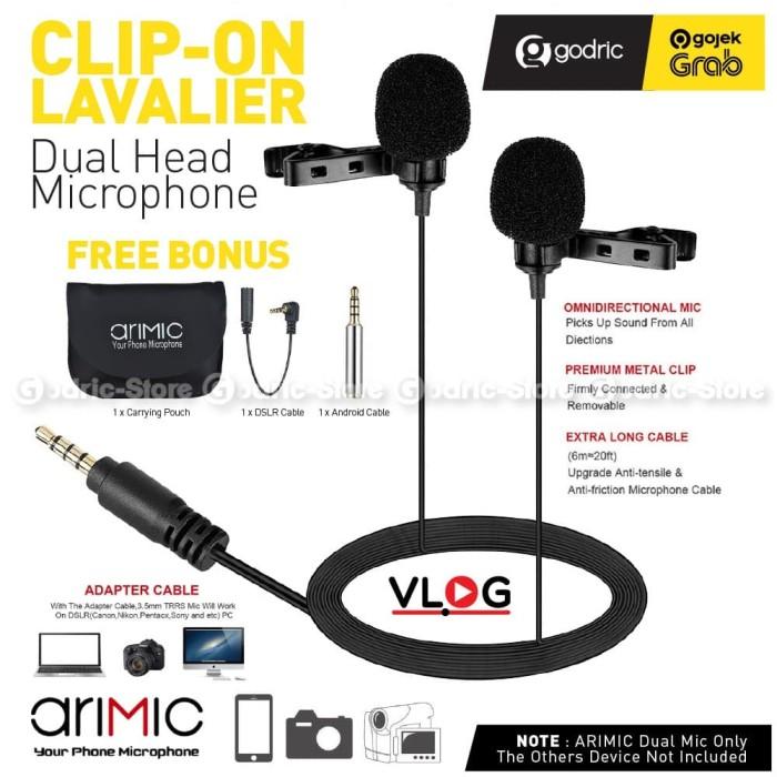 Foto Produk ULANZI ARIMIC DUAL 1.5M Lavalier Microphone Mic Android IOS HP & DSLR dari Godric Store