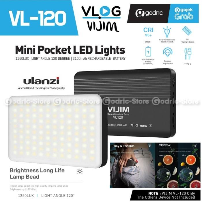Foto Produk ULANZI VL120 LED Built-In Battery Lampu Studio Video Light HP Alt. W49 dari Godric Store
