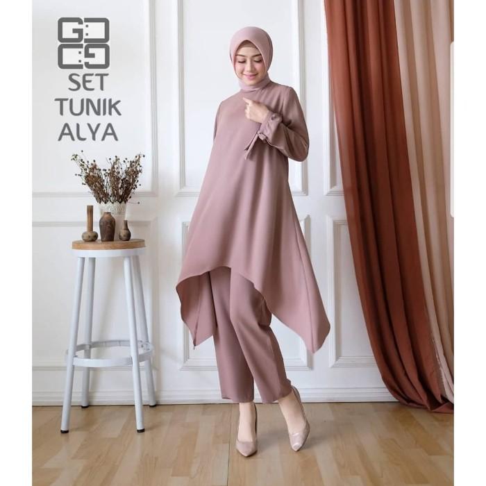 Foto Produk Baju Setelan Syari Wanita Muslim Terbaru Set Tunik Alya Termurah dari hijabafwa