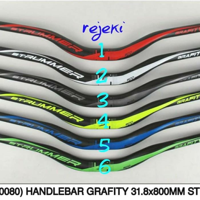 Foto Produk HANDLEBAR / STANG STRUMMER GRAFITY HITAM 31.8MM/800MM dari Rejeki Sparepart Bike