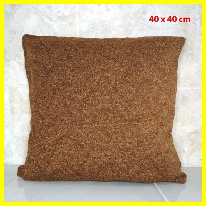 Foto Produk Sarung Cover Jok Bantal Kursi Sofa Duduk Resleting Canvas Coklat 40 cm dari Iyesh Online Store