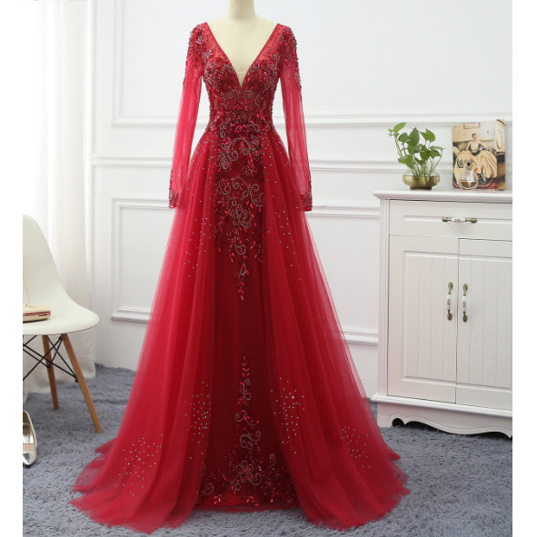 Jual Elegant A Line Evening Dress Long 2020 Long Sleeve Formal Dresses Cream M Kab Tangerang Wedding Mart Tokopedia