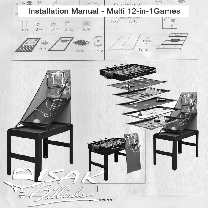 Foto Produk Buku Manual Cara Pasang Multi 12-in-1 Game Table - Basketball Billiard dari ISAK Billiard Sport Co.