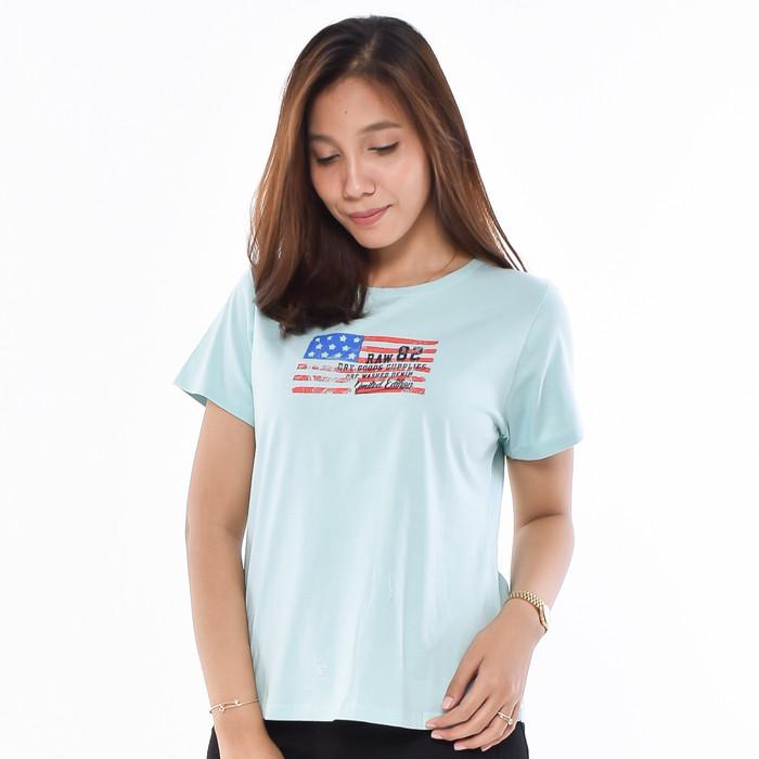 Foto Produk METALIZER 3215 T-Shirt Casual Kaos Wanita Lengan Pendek Premium - Biru Muda dari teetimeid