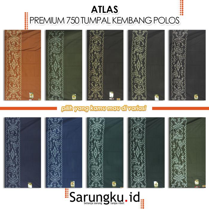 Foto Produk SARUNG ATLAS PREMIUM 750 TUMPAL KEMBANG WARNA POLOS - Cover dari SarungkuID