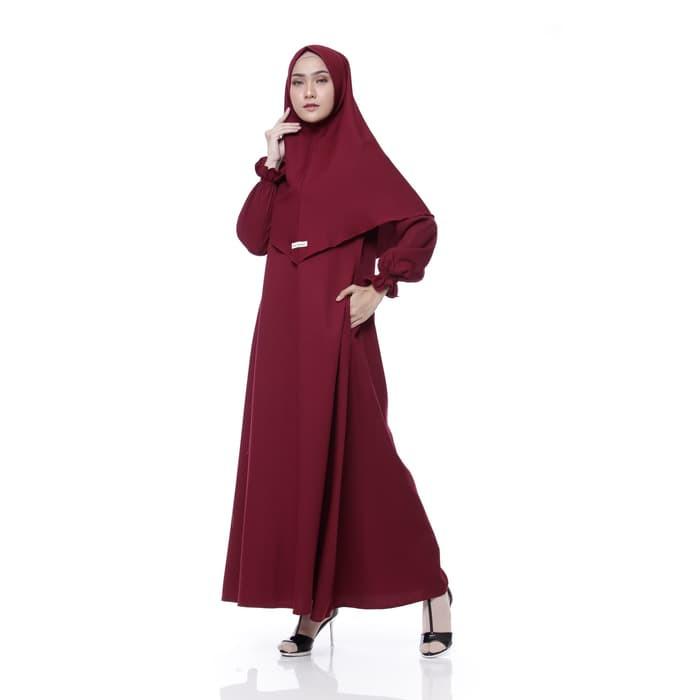 Foto Produk Setelan Gamis Syari Wanita Bahan Mosscrepe | Gamis Plus Khimar - Maroon dari danishagrosir
