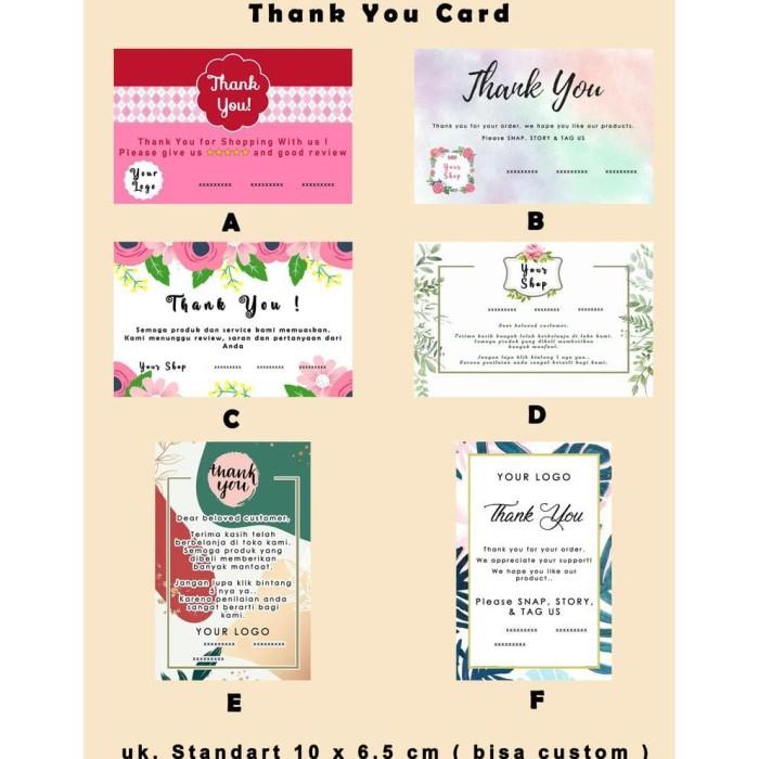 Jual Thank You Card Kartu Ucapan Terima Kasih Jakarta Barat Salma Salsanissa Tokopedia